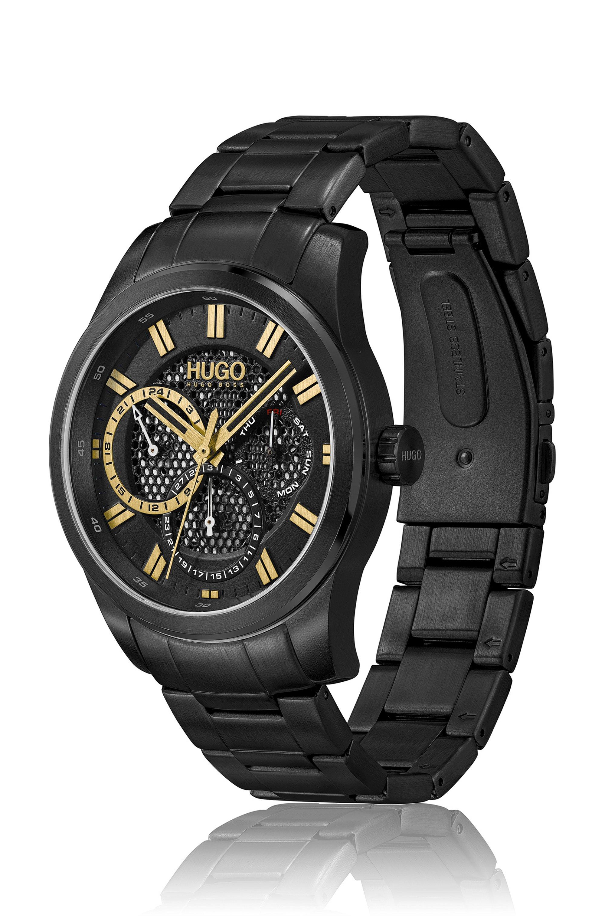 Schwarz beschichtete Uhr mit Zifferblatt in Mesh-Optik