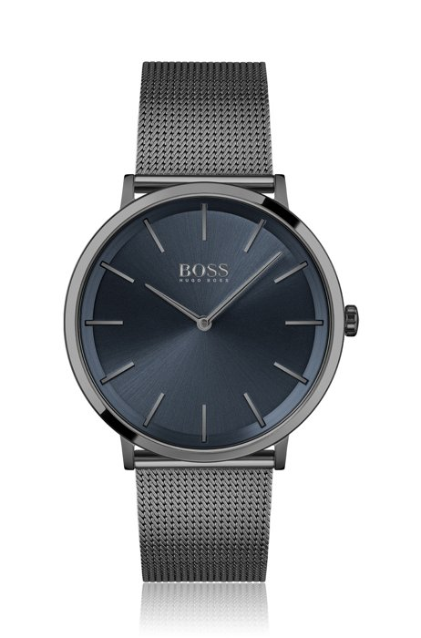 Schwarz beschichtete Uhr mit Mesh-Armband und blauem Zifferblatt, Assorted-Pre-Pack