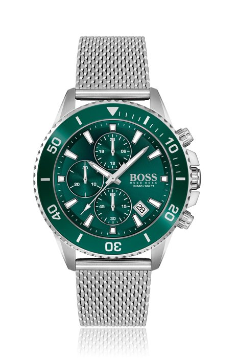 Green-dial chronograph watch with rotating bezel, Assorted-Pre-Pack