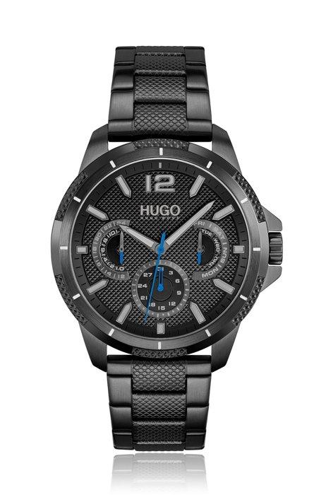 Reloj chapado en negro con pulsera y esfera con textura, Assorted-Pre-Pack