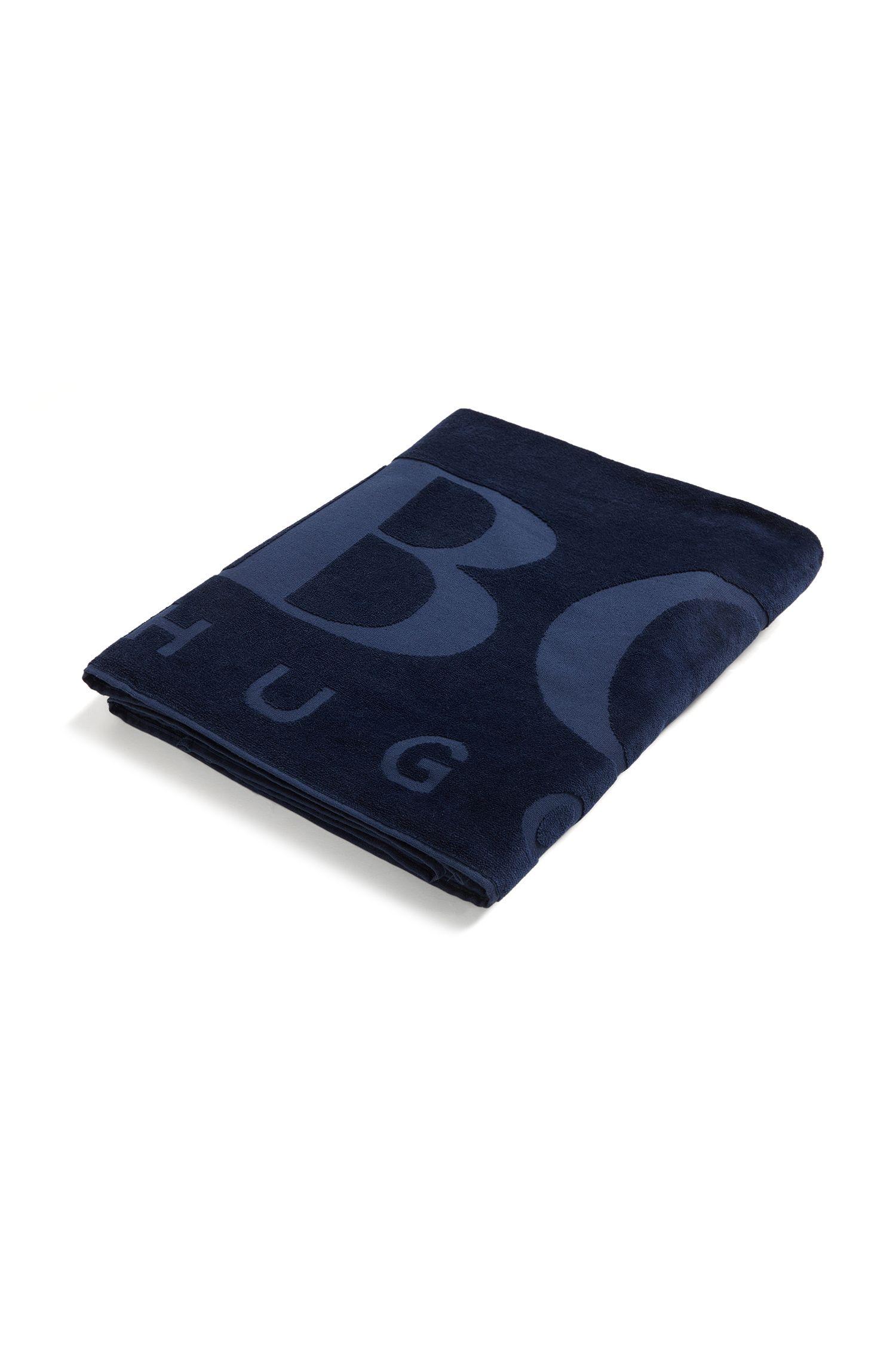 Beach towel soft cotton with logo, Dark Blue