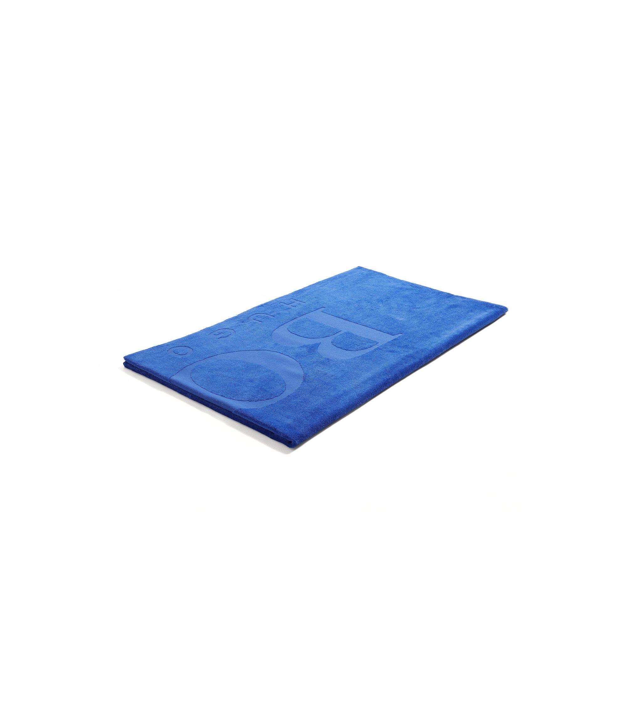 Telo da bagno in morbido cotone con logo, Blu