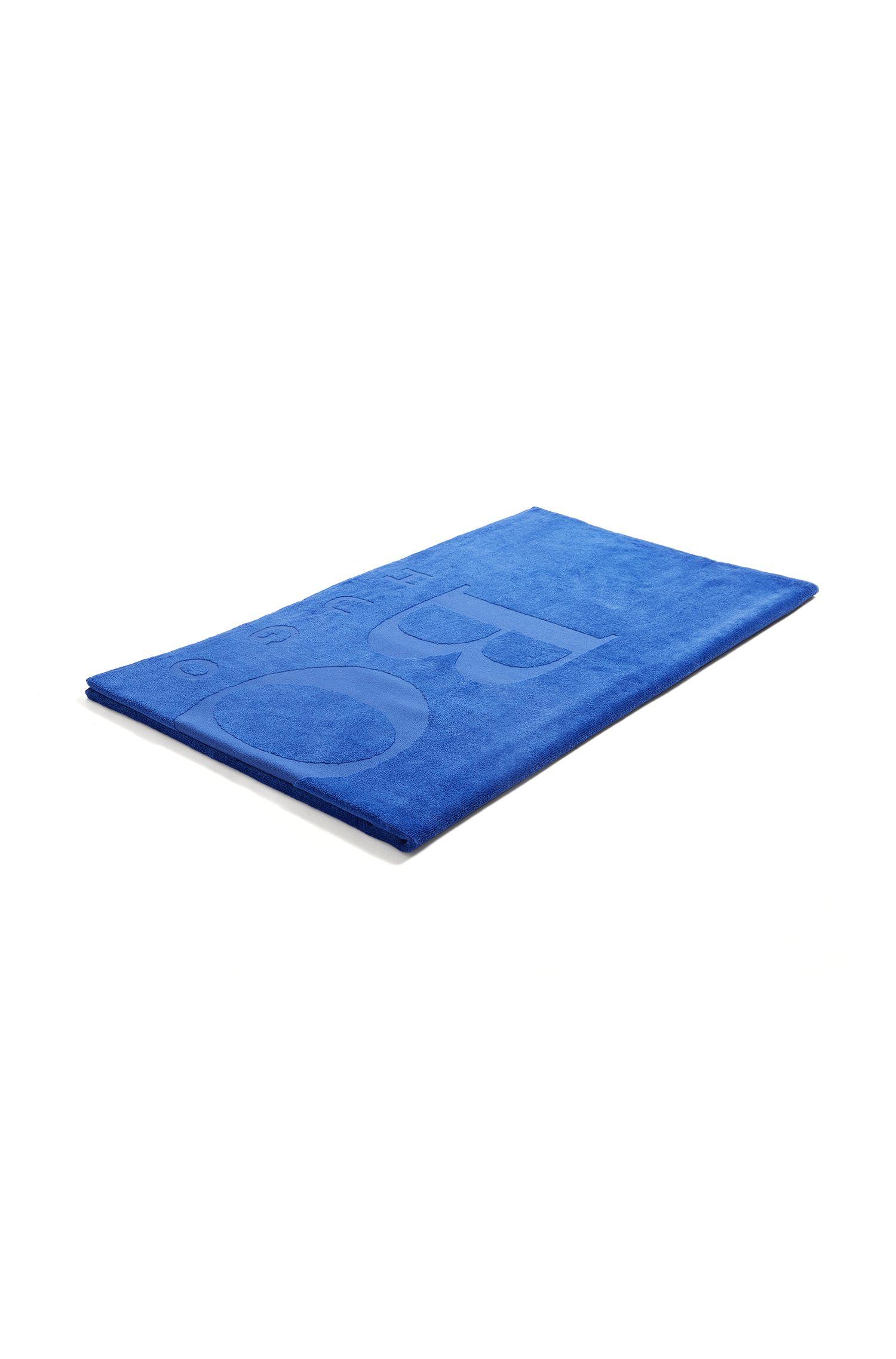 Serviette de plage en coton doux avec logo, Bleu