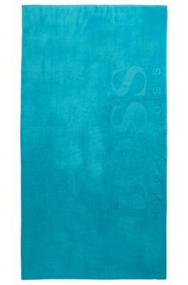 Telo da bagno in morbido cotone con logo, Turchese