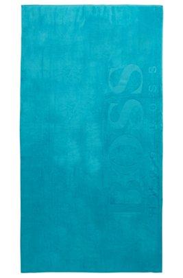 Serviette de plage en coton doux avec logo, Turquoise