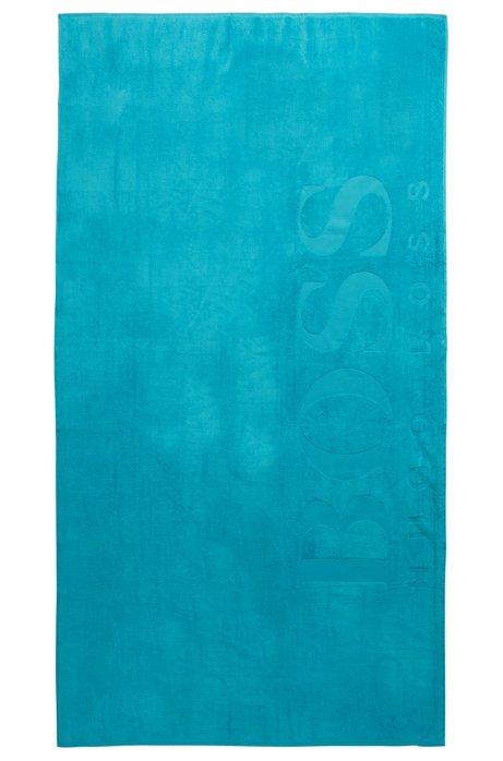 Badetuch aus weicher Baumwolle mit Logo, Türkis