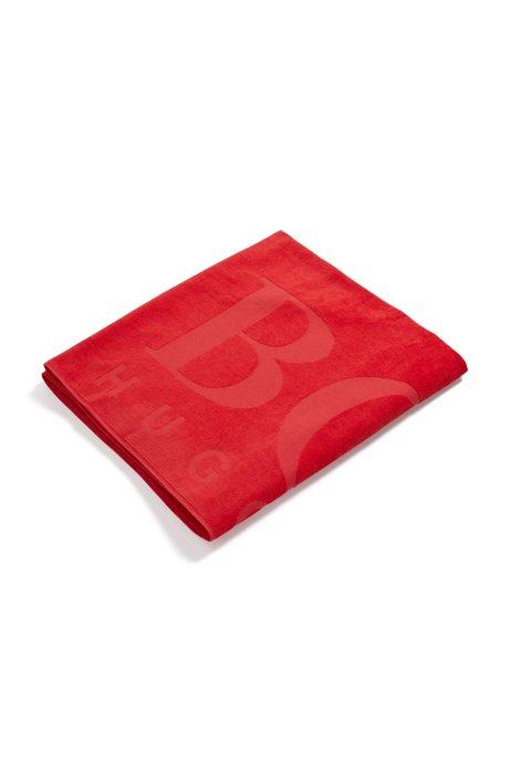 Telo da bagno in morbido cotone con logo, Rosso
