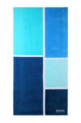 Serviette de plage «BEAT-COLORBLOCK» en maille éponge, Bleu