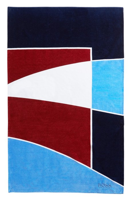 Beach towel in geometric-printed velvet-touch cotton, Blue