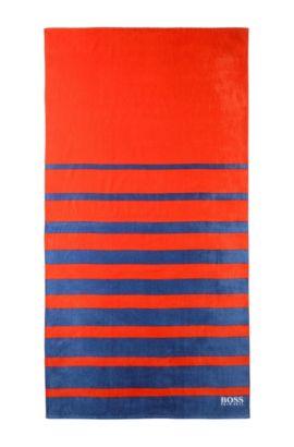 Serviette de plage «BEAT-VARISTRIPE» en maille de coton éponge, Orange