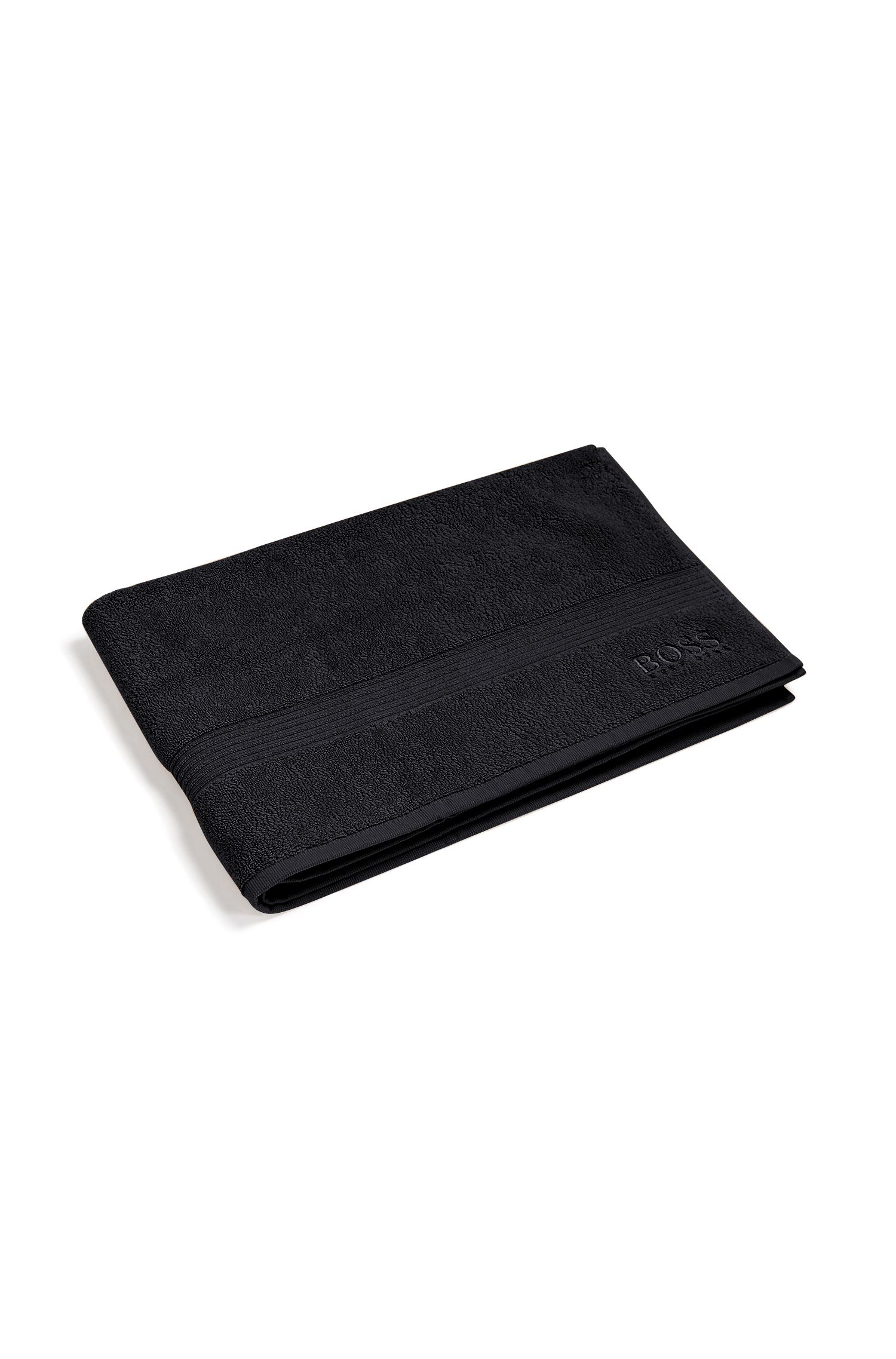 Bath mat in combed Aegean cotton with ribbed border, Black