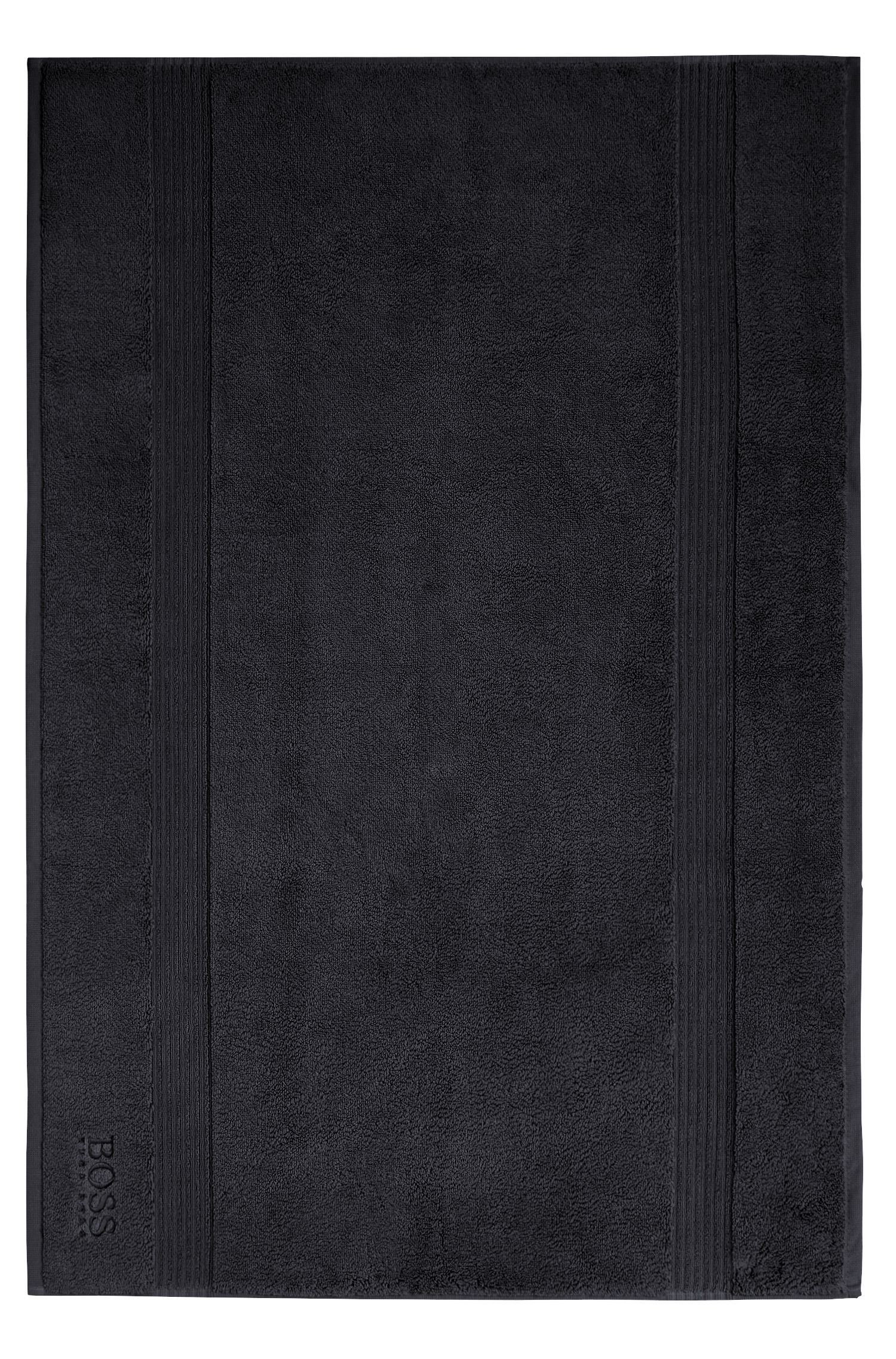 Alfombrilla de baño en algodón peinado del Egeo con borde de canalé, Negro