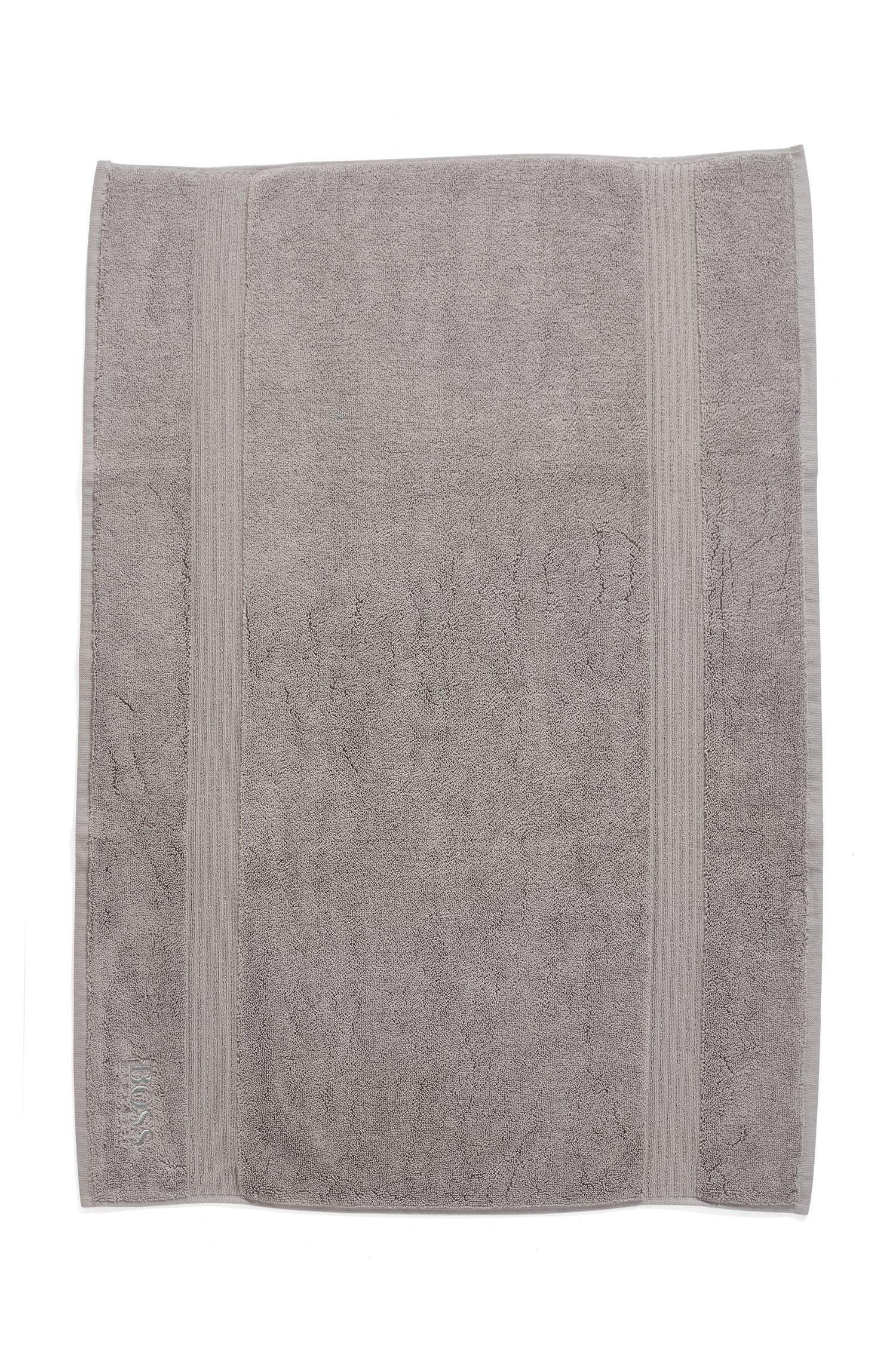 Tapis de bain en coton peigné de la mer Égée avec bordure côtelée, Argent