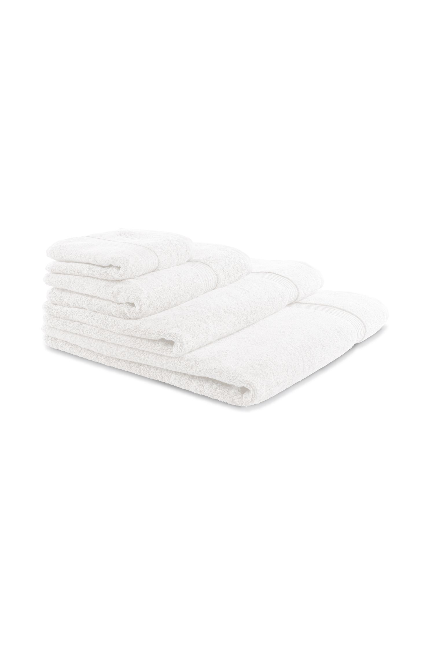 Tappetino da bagno in cotone egeo pettinato con bordo a coste, Bianco
