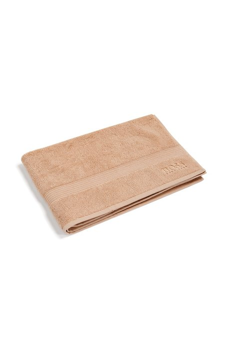 Bath mat in combed Aegean cotton with ribbed border, Beige