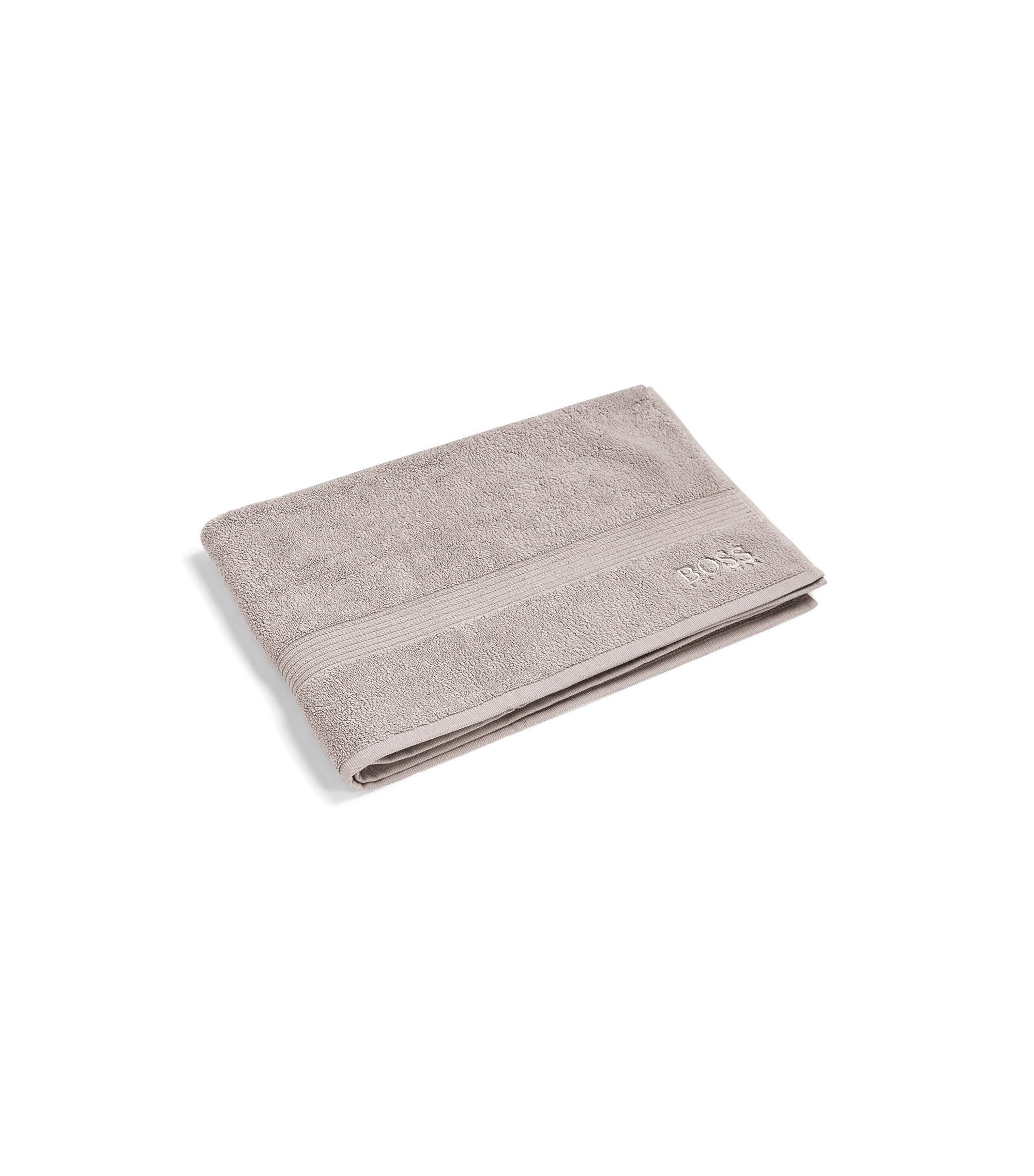 Bath mat in combed Aegean cotton with ribbed border, Light Beige