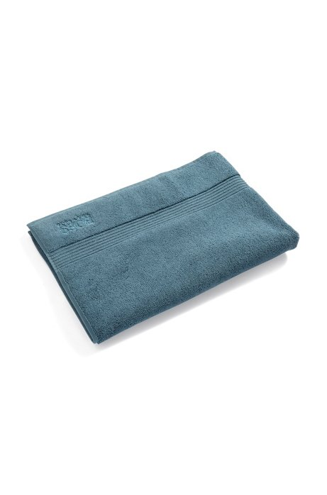 Bath mat in combed Aegean cotton with ribbed border, Dark Blue