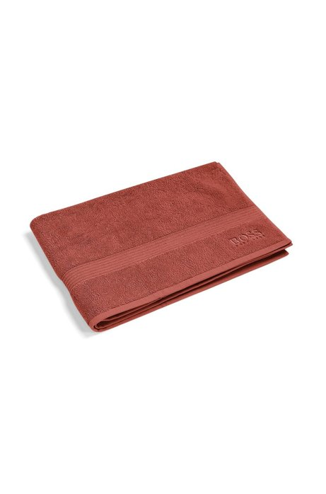 Bath mat in combed Aegean cotton with ribbed border, Dark Orange