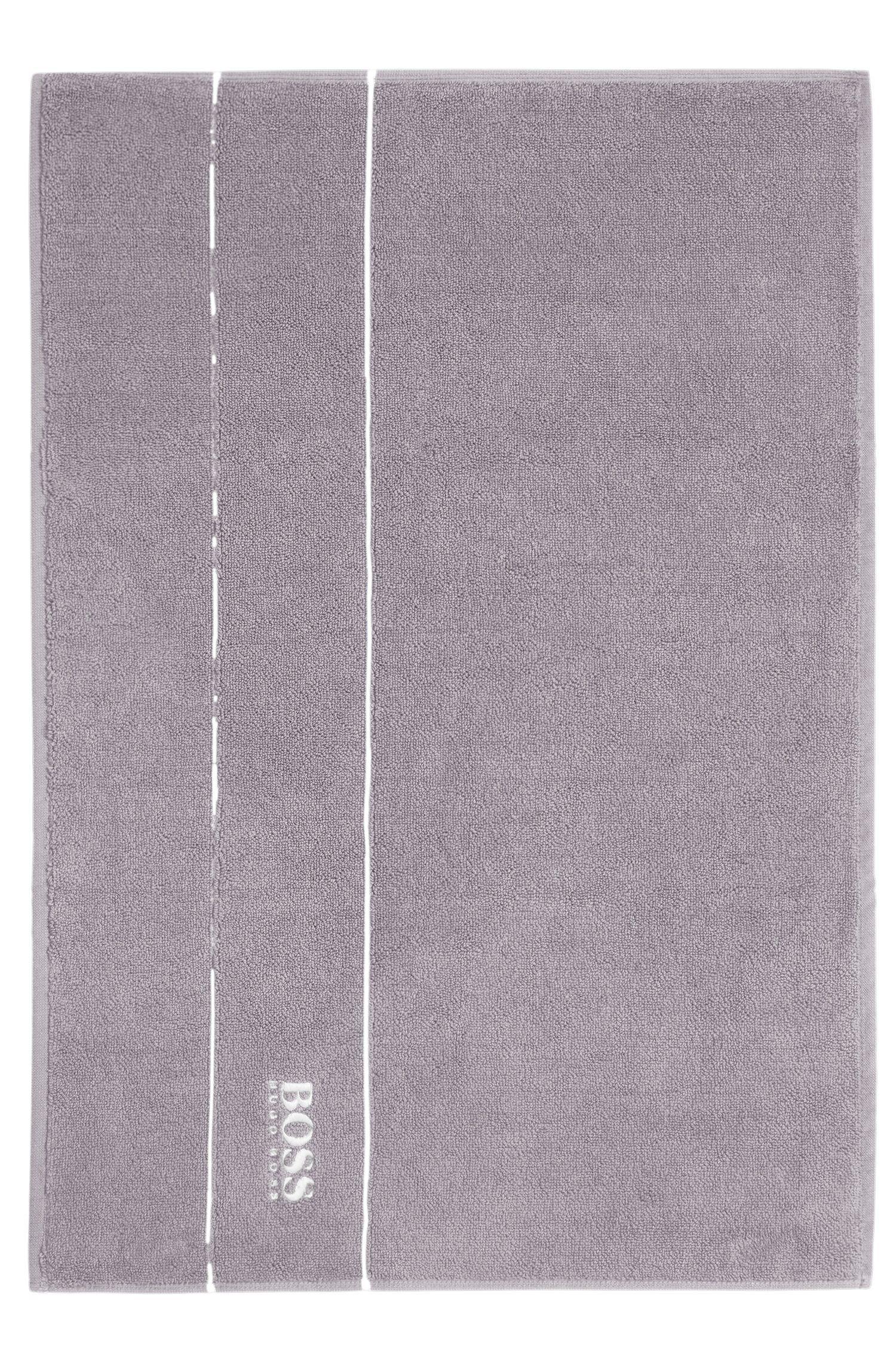 Tapis de bain en coton égyptien des plus raffinés avec bordure logo, Gris sombre