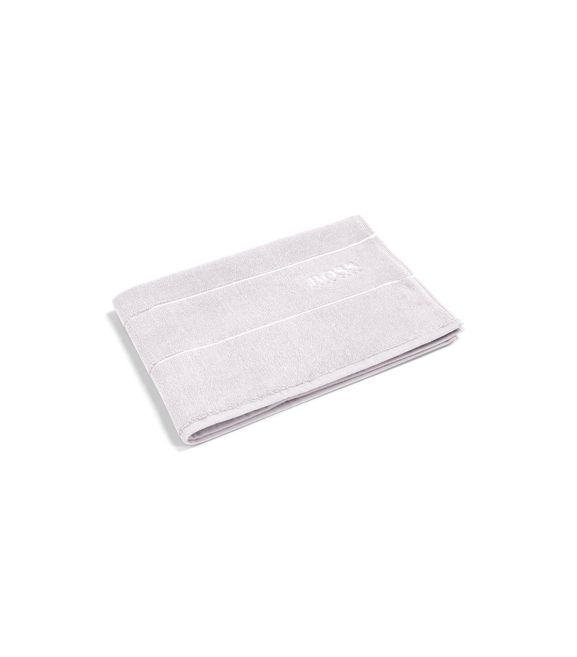 Finest Egyptian cotton bath mat with logo border, Silver