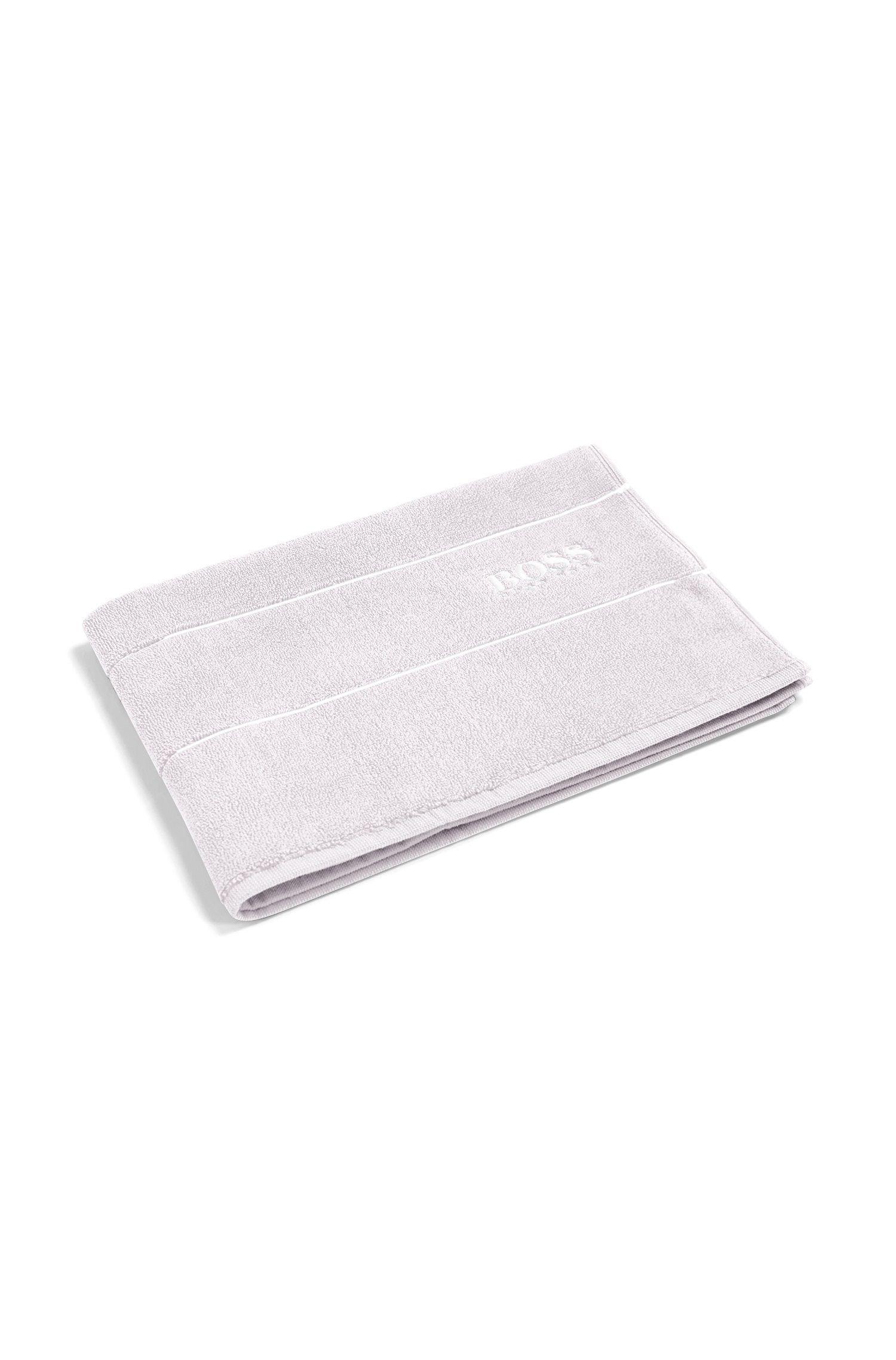 Badmat van de fijnste Egyptische katoen met rand met logo, Zilver