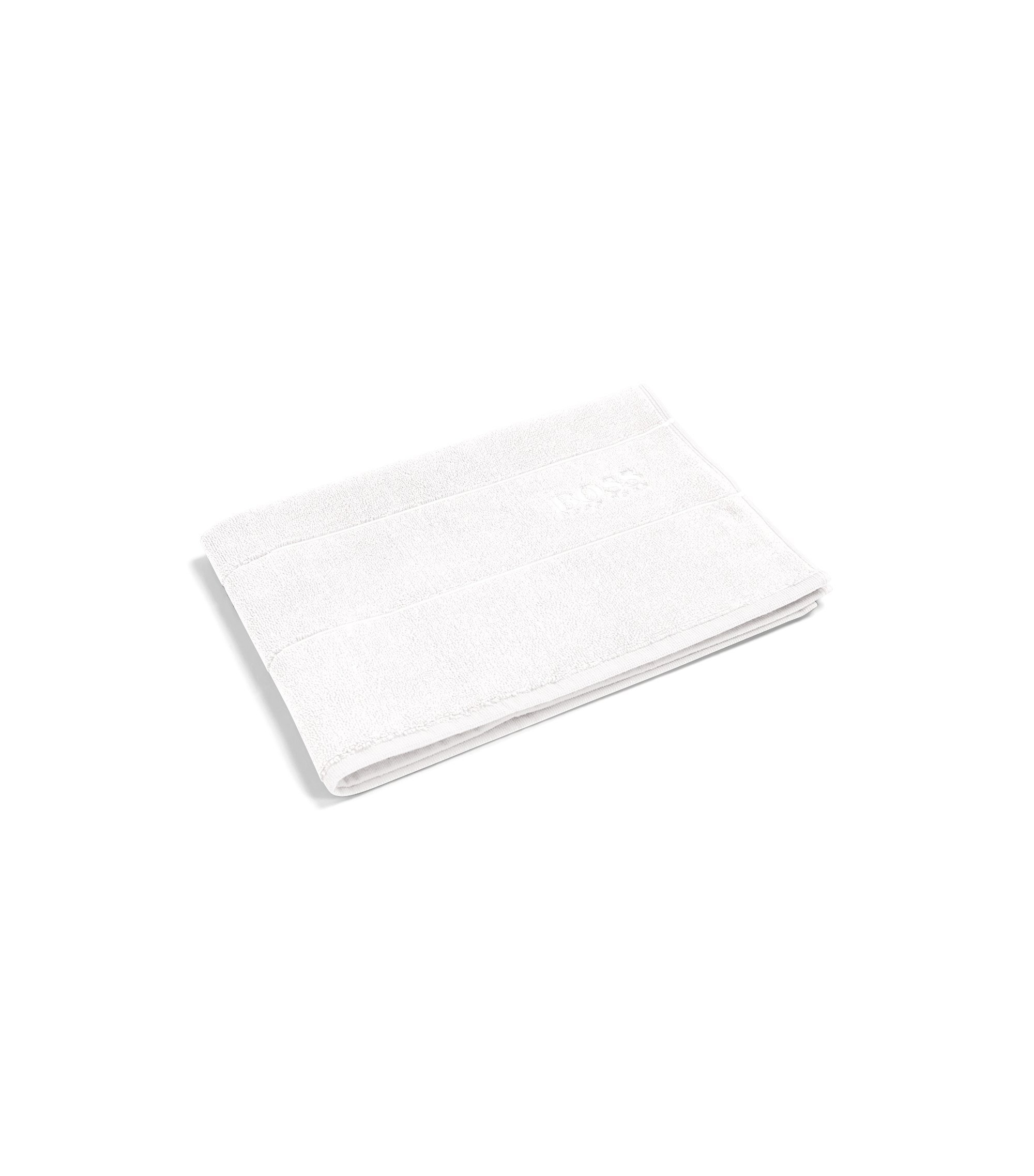Finest Egyptian cotton bath mat with logo border, White