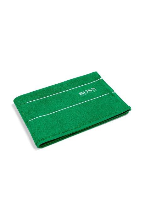 Finest Egyptian cotton bath mat with logo border, Green