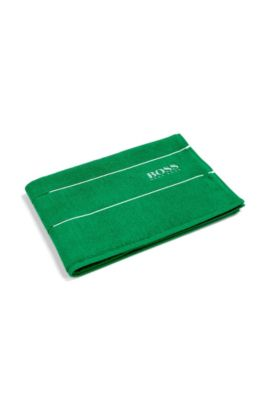 Finest Egyptian cotton bath mat with logo border, Green