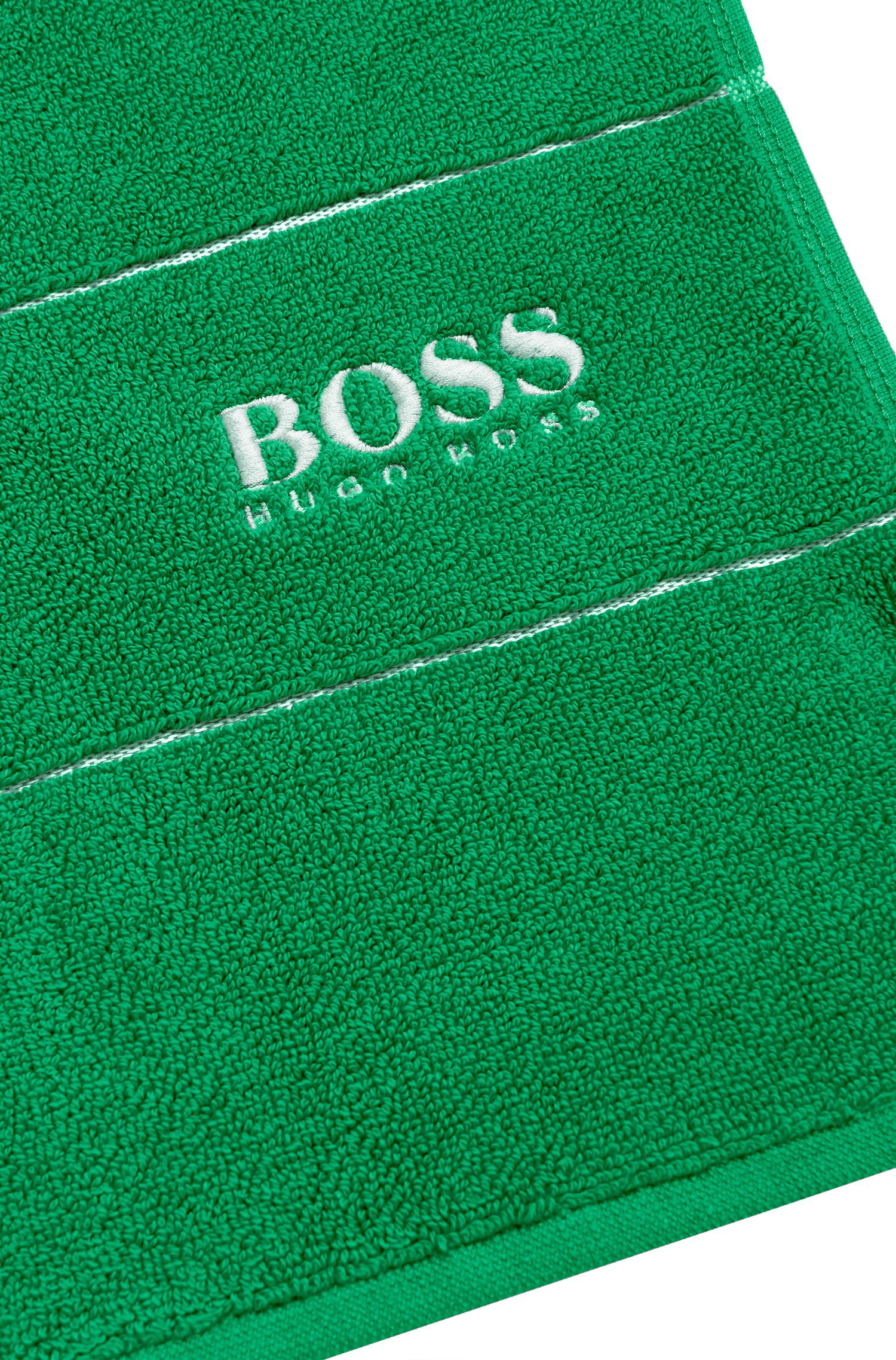 Tapis de bain en coton égyptien des plus raffinés avec bordure logo, Vert