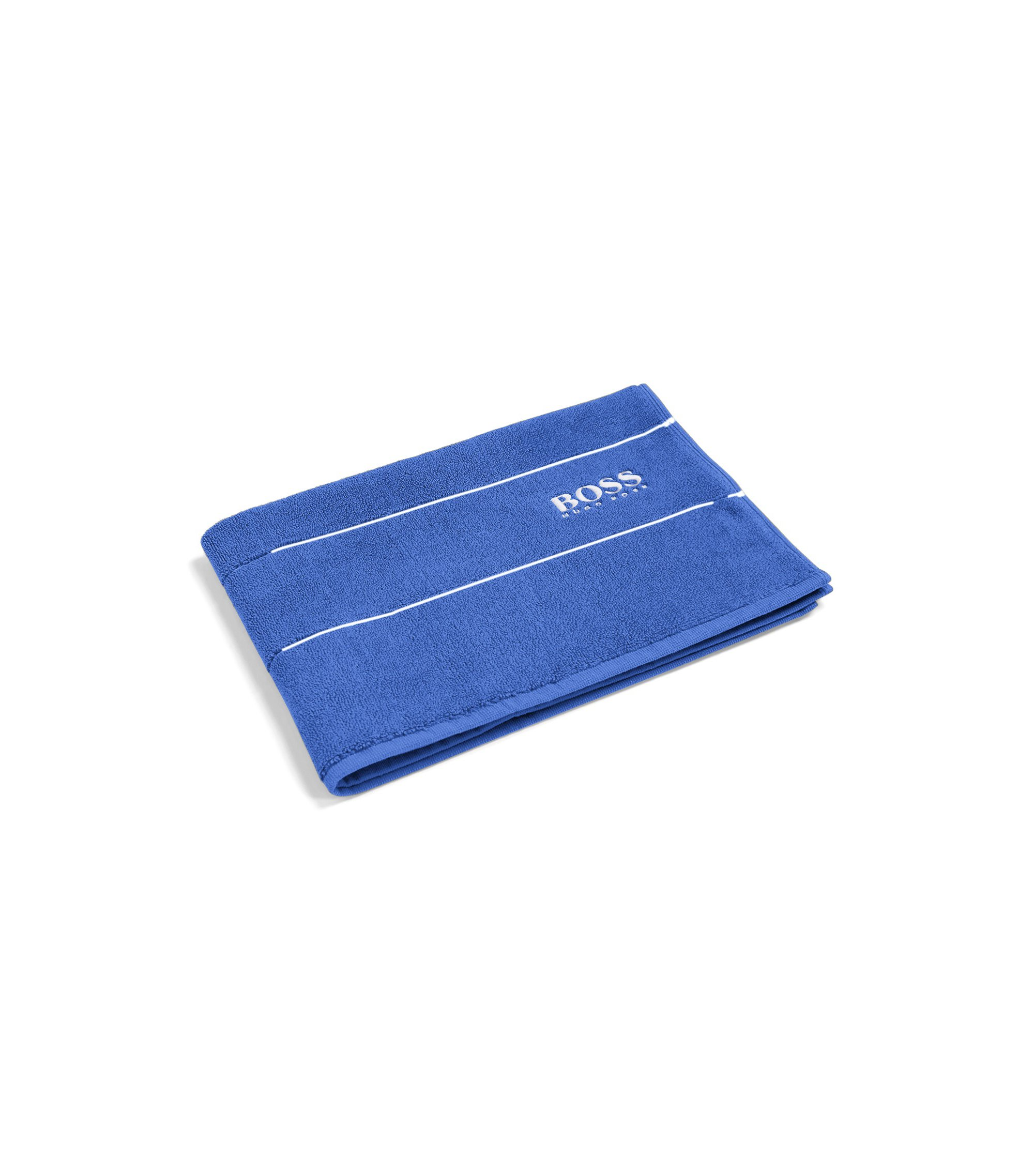 Finest Egyptian cotton bath mat with logo border, Blue