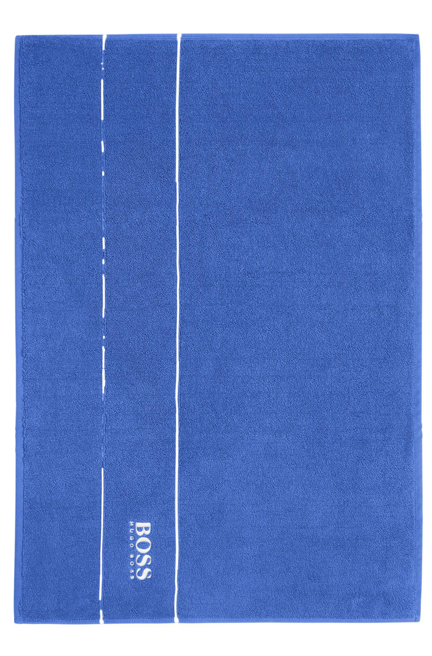 Tappetino da bagno in raffinato cotone egiziano con bordo griffato, Blu