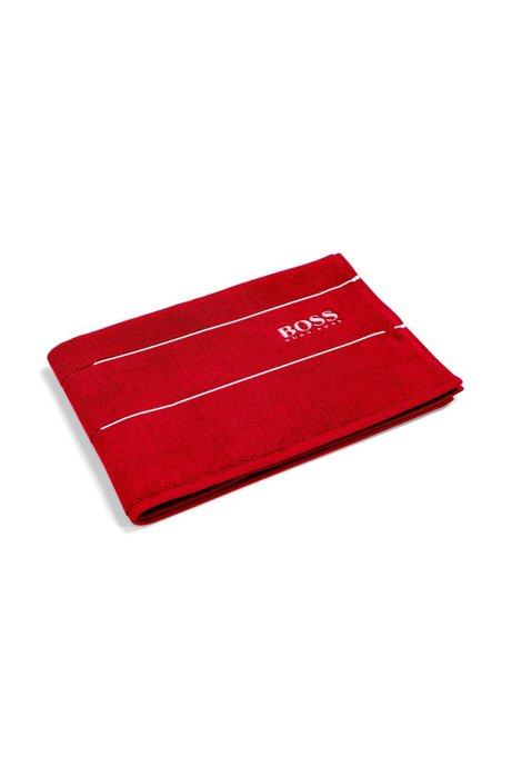 Tappetino da bagno in raffinato cotone egiziano con bordo griffato, Rosso