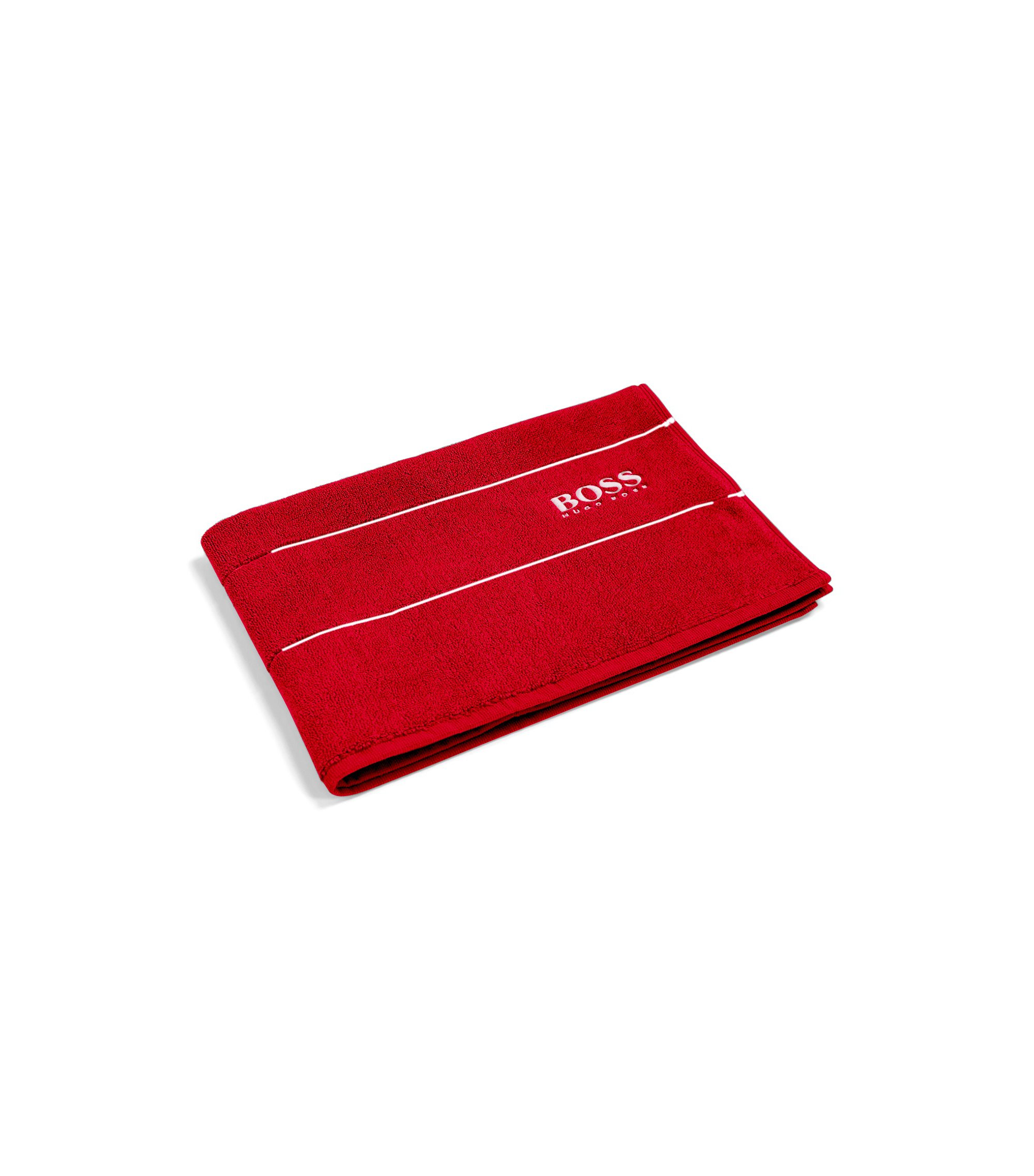 Finest Egyptian cotton bath mat with logo border, Red
