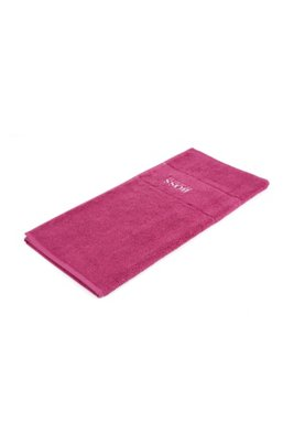Finest Egyptian cotton bath mat with logo border, Pink