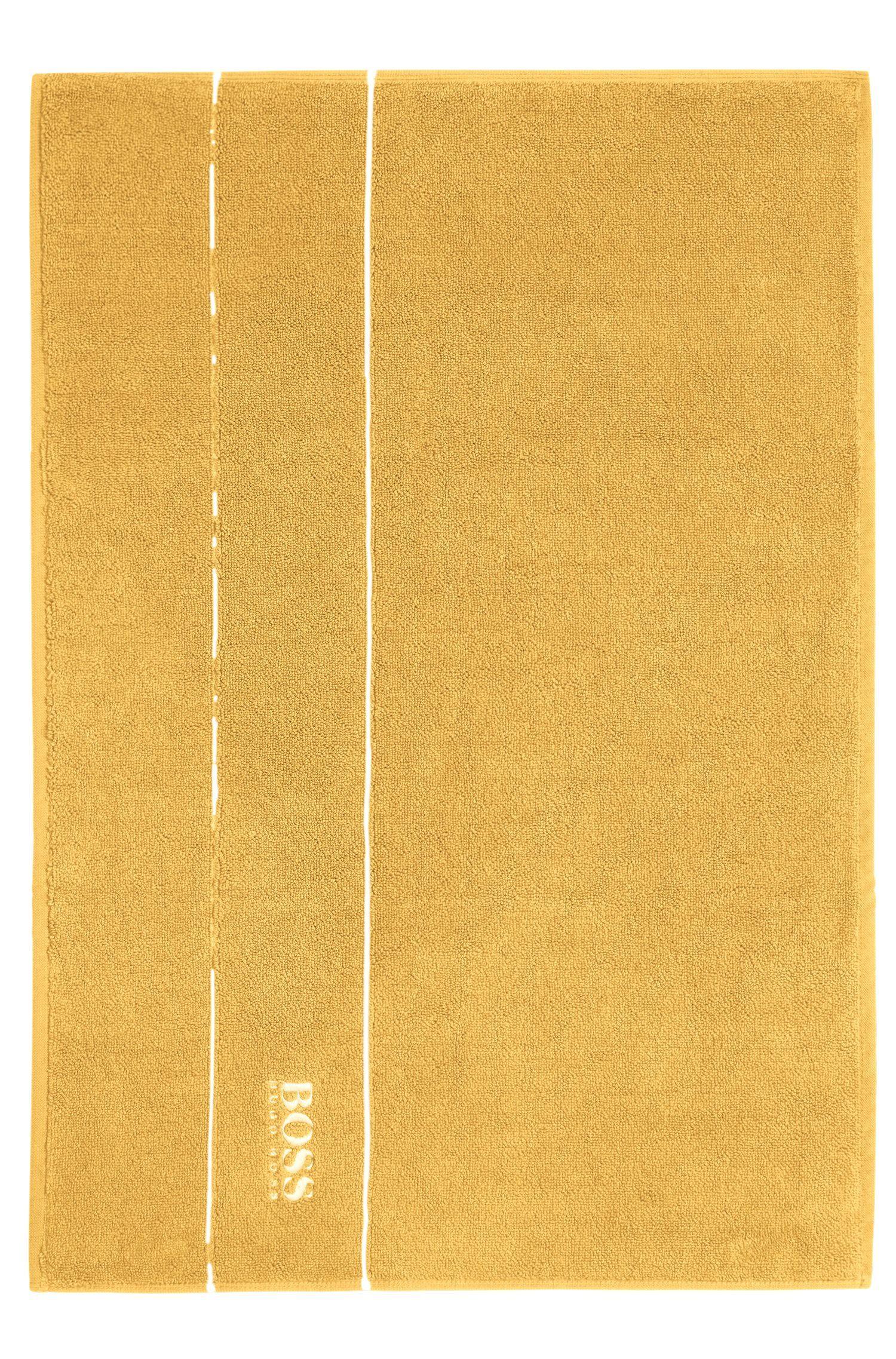 Tappetino da bagno in raffinato cotone egiziano con bordo griffato, Oro
