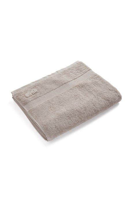 Großes Badetuch aus gekämmter ägäischer Baumwolle mit Ripp-Bordüre, Hellbeige