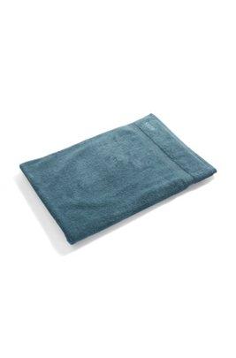 Serviette de bain en coton peigné de la mer Égée avec bordures côtelées, Bleu foncé