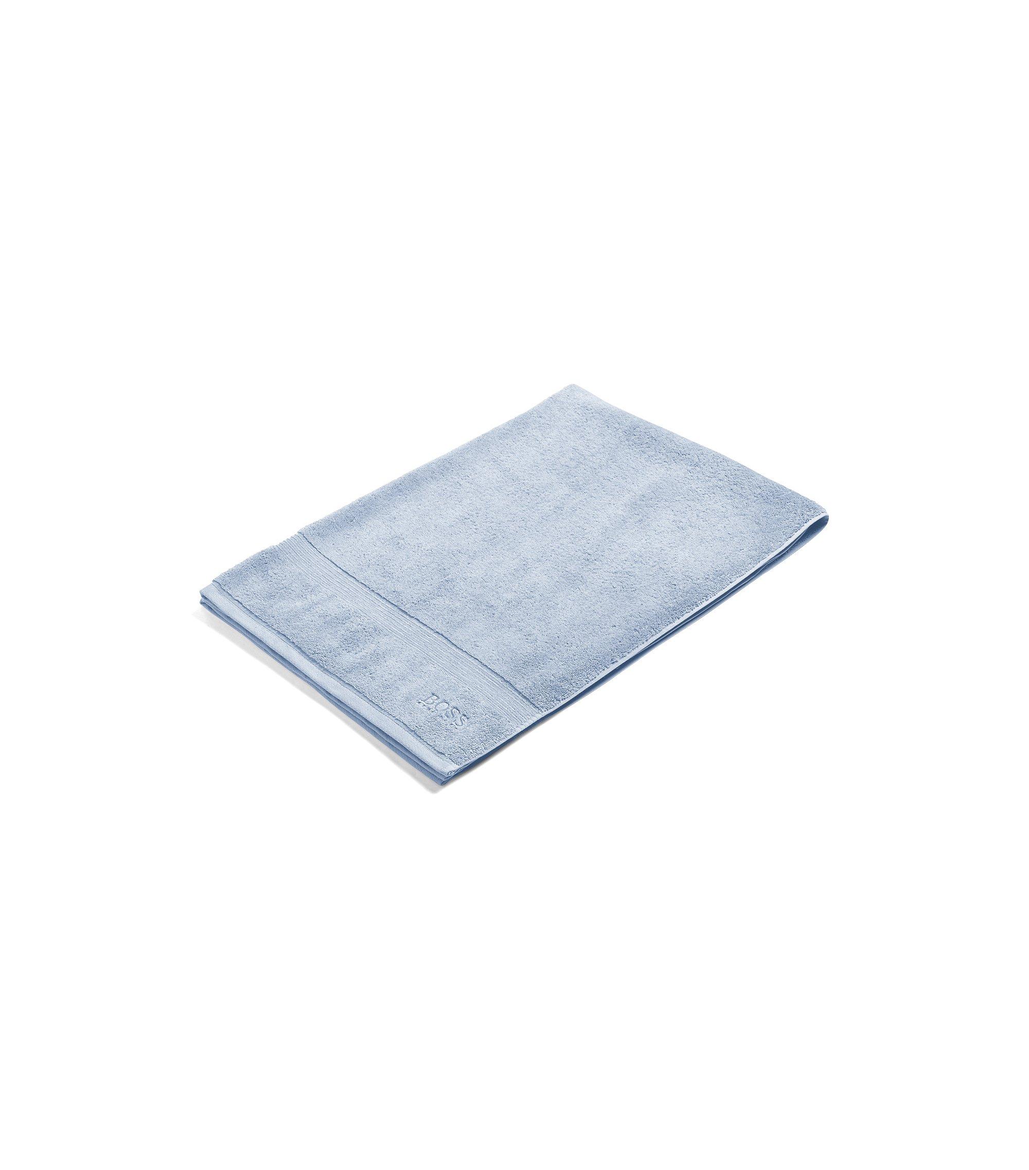 Badhanddoek van gekamde Egeïsche katoen met geribde rand, Lichtblauw