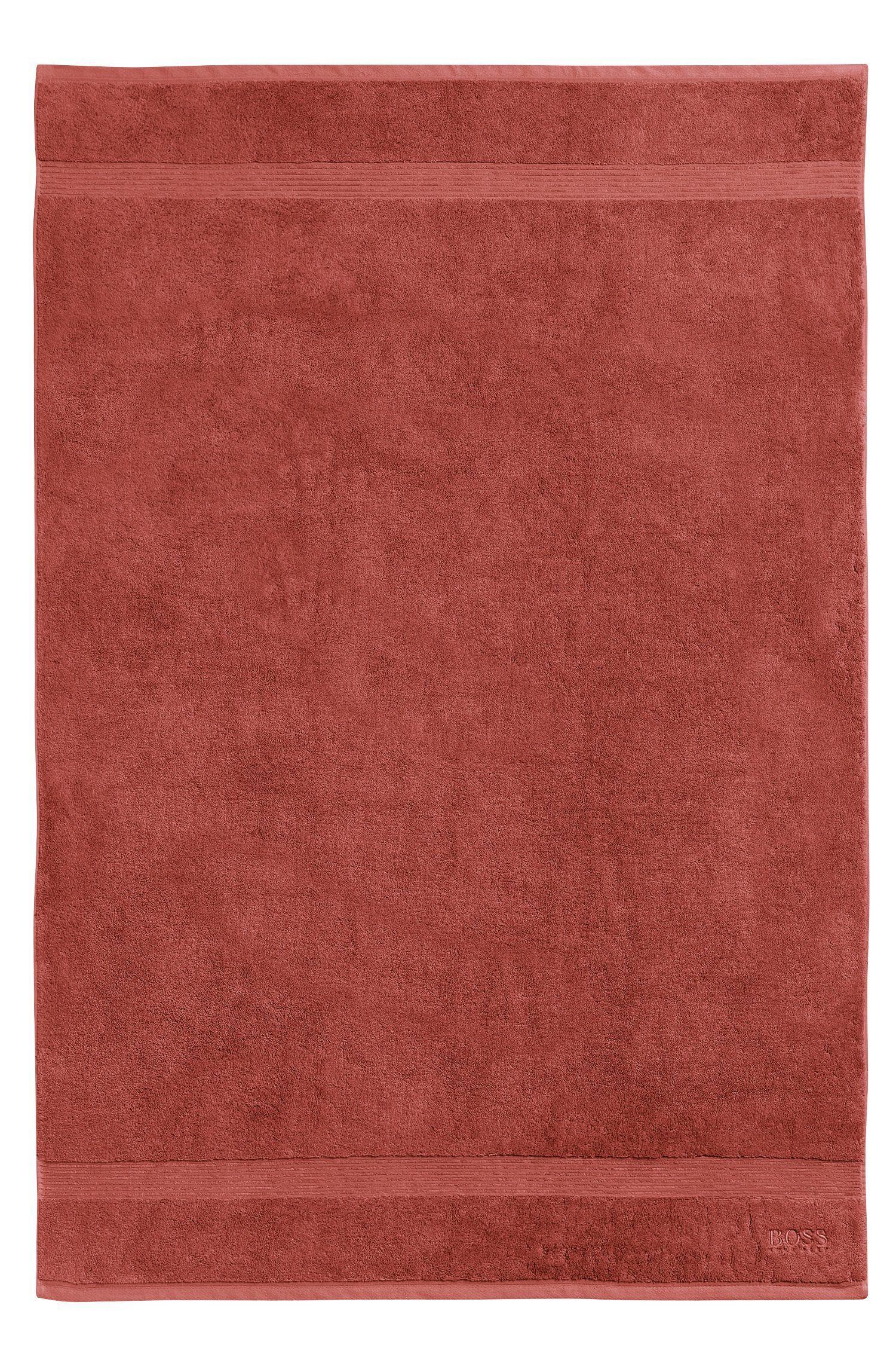 Bath towel in combed Aegean cotton with ribbed border, Dark Orange