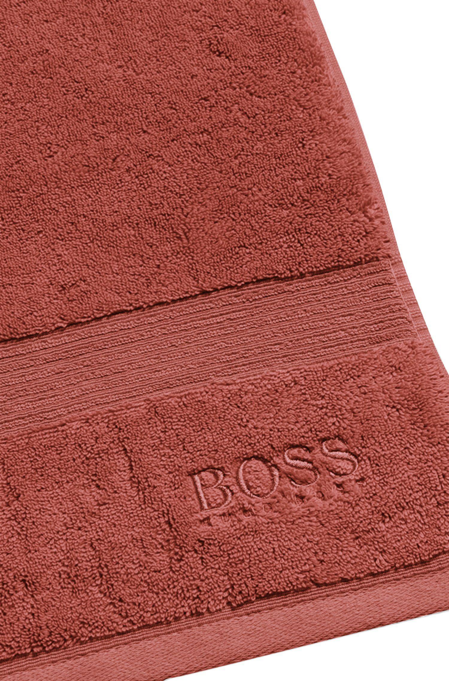 Asciugamano da bagno in cotone egeo pettinato con bordo a coste, Arancione scuro