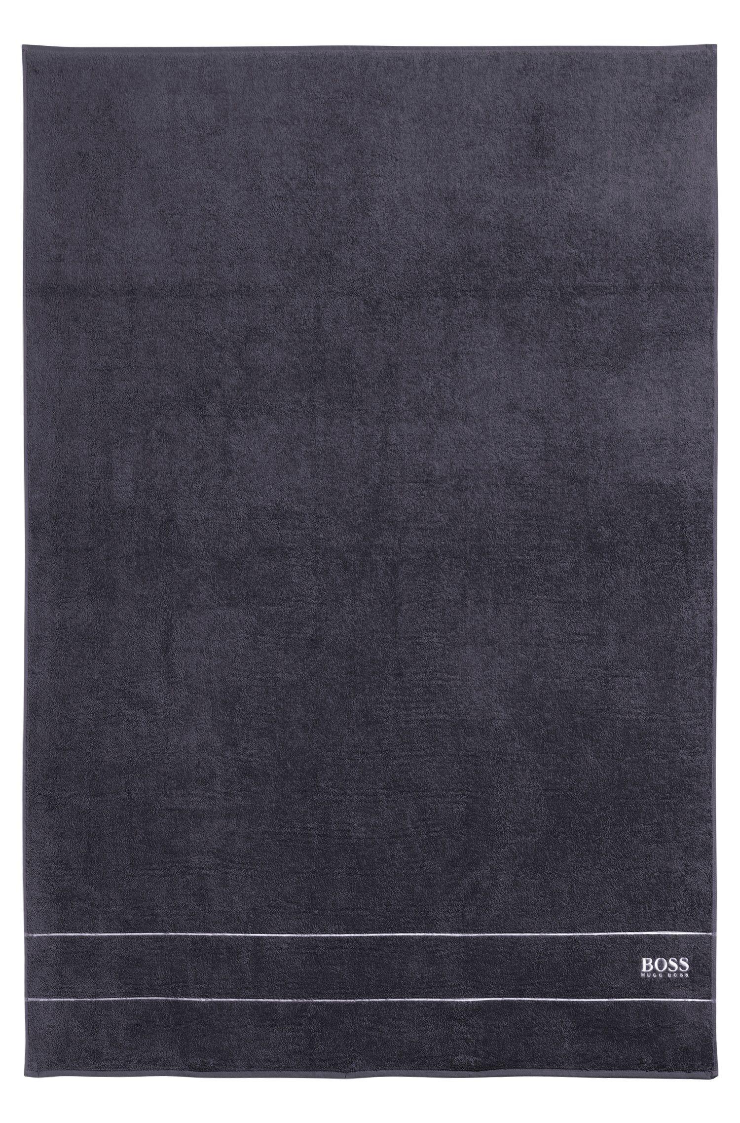 Telo doccia in pregiato cotone egiziano con bordo con logo, Grigio antracite
