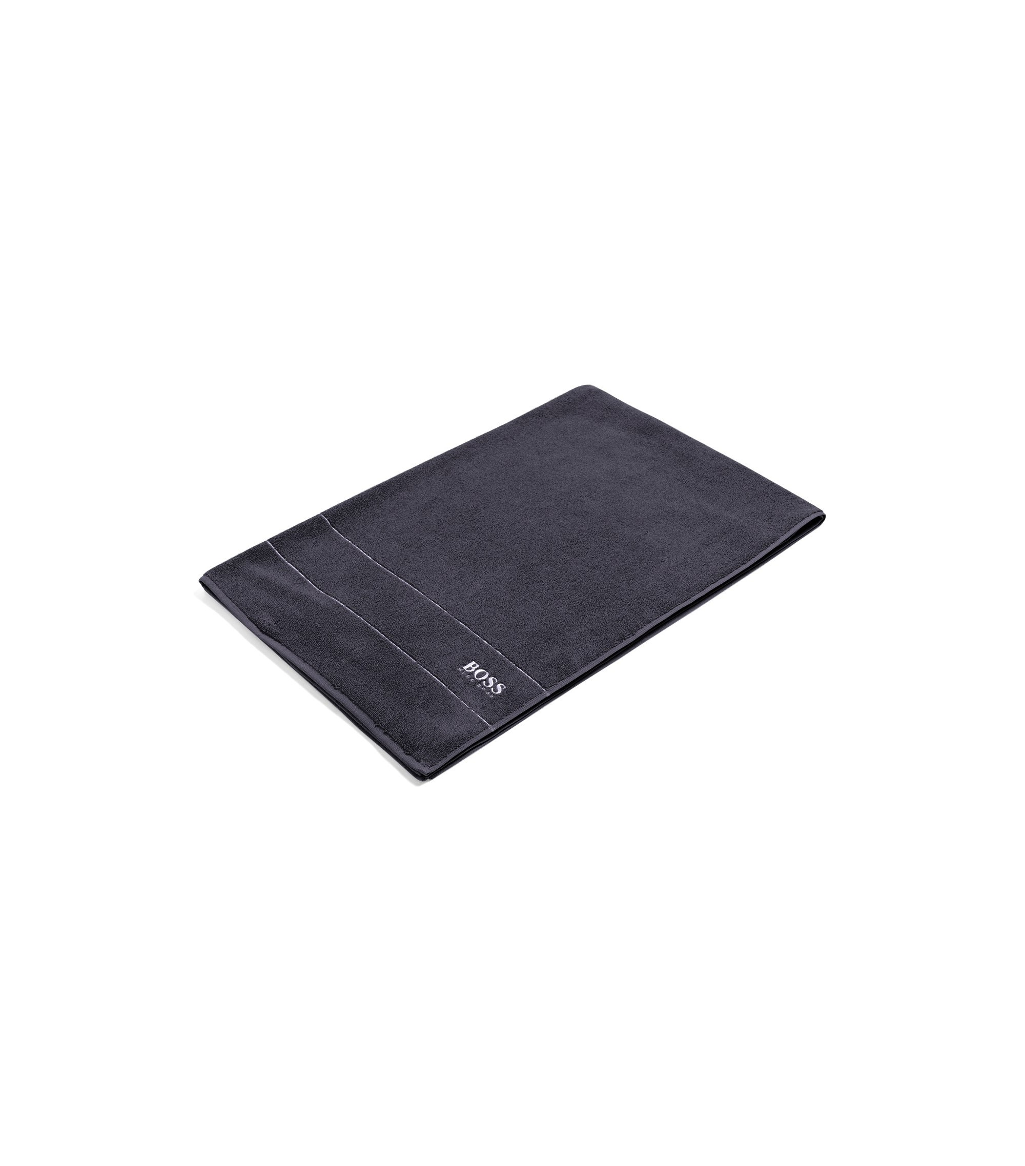 Finest Egyptian cotton bath sheet with logo border, Anthracite