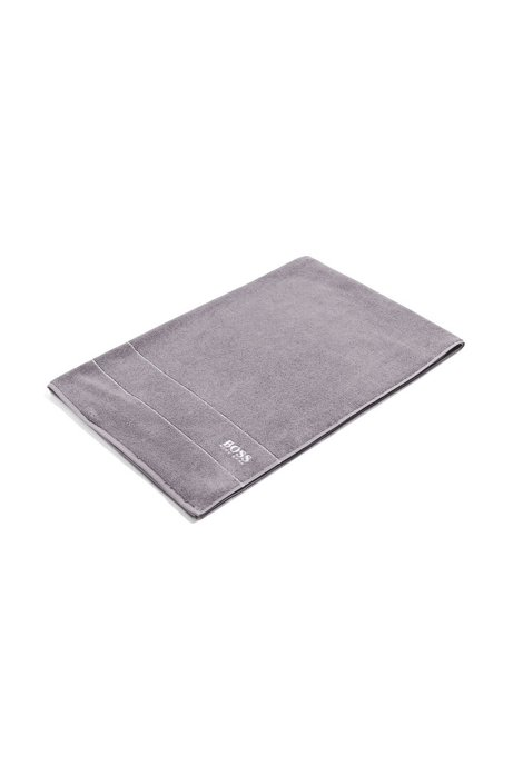 Finest Egyptian cotton bath sheet with logo border, Dark Grey