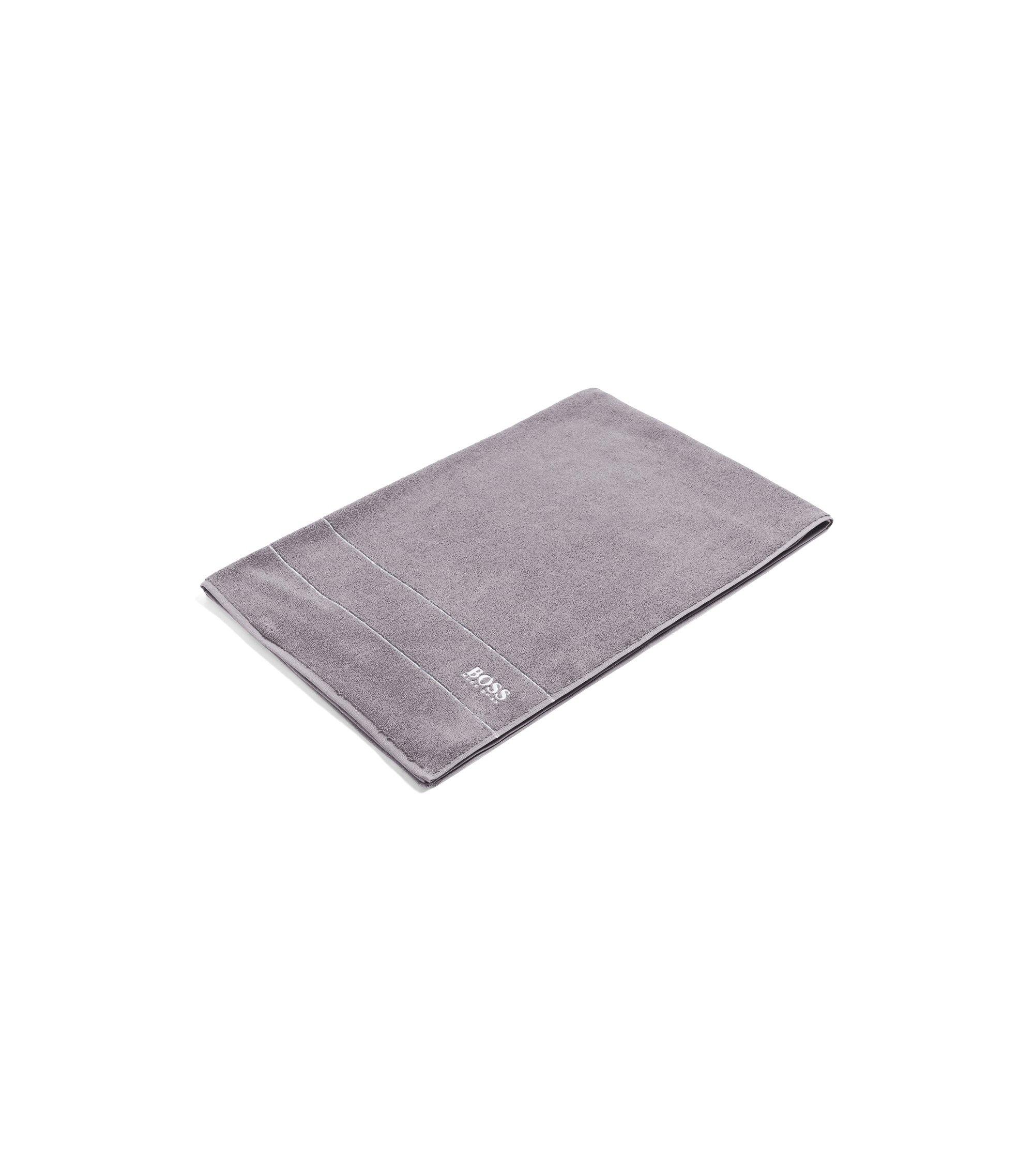 Toalla de baño extragrande en algodón egipcio de la máxima calidad con logo en el borde, Gris oscuro