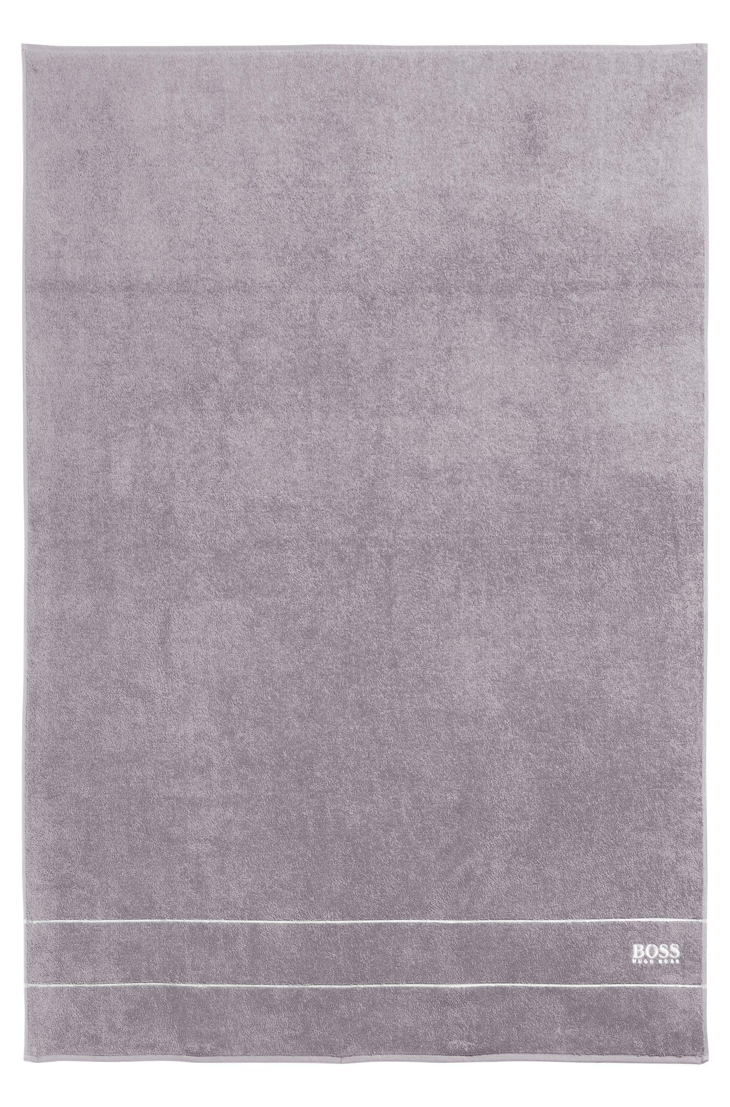 Telo doccia in pregiato cotone egiziano con bordo con logo, Grigio scuro