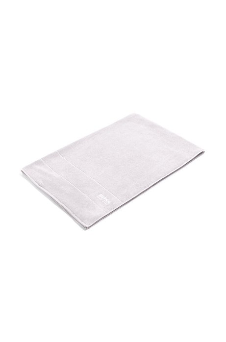Finest Egyptian cotton bath sheet with logo border, Silver