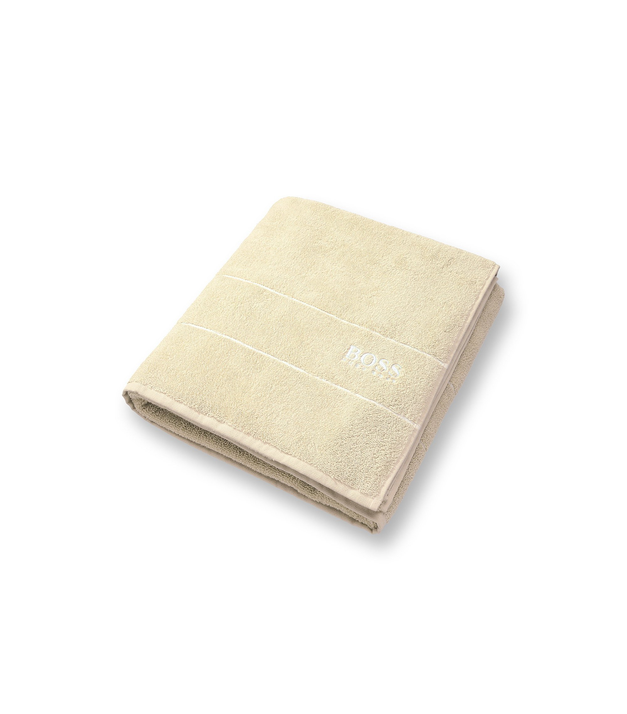 Finest Egyptian cotton bath sheet with logo border, Light Beige