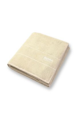 Beach towel 'PLAIN' with a logo in contrasting colour, Light Beige