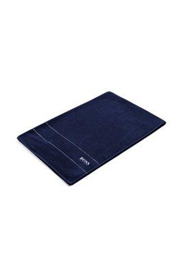 Finest Egyptian cotton bath sheet with logo border, Dark Blue