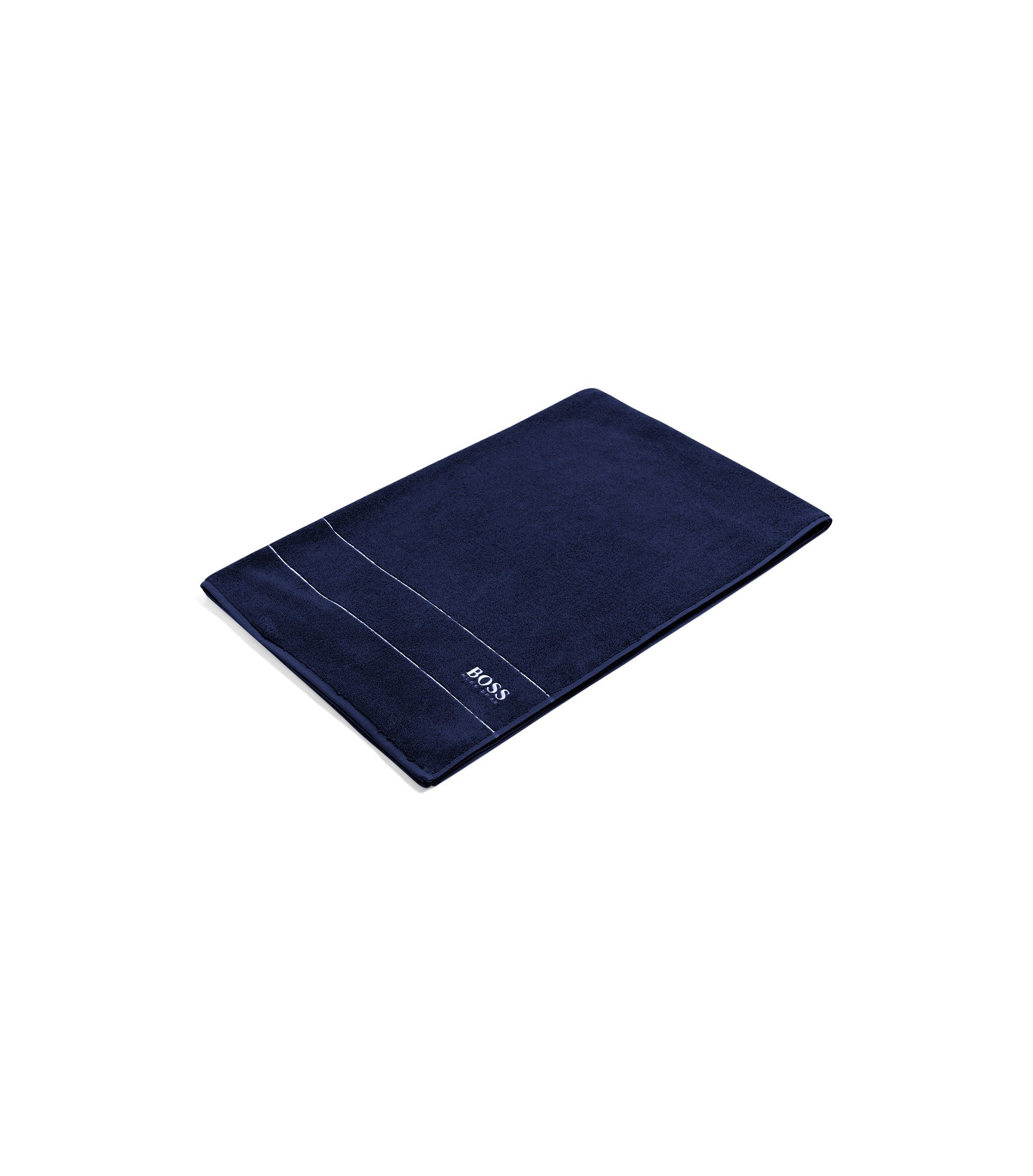 Finest Egyptian cotton bath sheet with logo border, Dark Blue